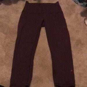 Wine colored cropped lulu leggings